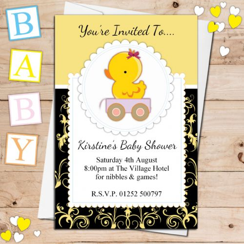10 Personalised Cute Yellow Duck Baby Shower Invitations N24